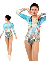 cheap -Rhythmic Gymnastics Leotards Artistic Gymnastics Leotards Women's Girls' Leotard Light Blue Spandex High Elasticity Handmade Jeweled Diamond Look Long Sleeve Competition Dance Rhythmic Gymnastics