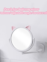 cheap -Cartoon cat free punching makeup mirror rotating princess decoration portable dressing table round mirror jewelry stand home table decoration