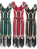cheap -The Great Gatsby Vintage 1920s Flapper Dress Dress Party Costume Women's Sequin Costume Golden / Silver / Green Vintage Cosplay Party Sleeveless