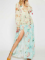 cheap -Women's Shift Dress - Print Beige Maxi S M L XL