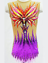 cheap -21Grams Rhythmic Gymnastics Leotards Artistic Gymnastics Leotards Women's Girls' Leotard Purple Spandex High Elasticity Breathable Handmade Jeweled Diamond Look Sleeveless Training Dance Rhythmic