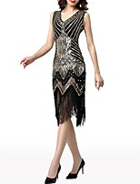 cheap -Sheath / Column V Neck Knee Length Polyester Roaring 20s / 1920s Fashion Cocktail Party / Party Wear Dress with Crystals / Tassel 2020