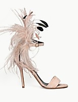 cheap -Women's Wedding Shoes Furry Feather Stiletto Heel Round Toe Feather Suede Spring & Summer Pink