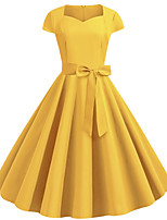 cheap -Women's Yellow Dress Active Cute Party Daily Swing Solid Color Square Neck Patchwork S M / Cotton