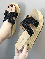 cheap -Women's Slippers & Flip-Flops Wedge Heel Round Toe PU Summer Black / Champagne / Silver