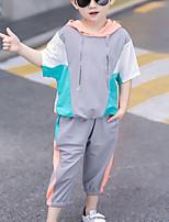 Недорогие -Дети Мальчики Активный На каждый день Синий и белый Контрастных цветов Шнуровка Пэчворк Длинный рукав С короткими рукавами Обычный Обычная Набор одежды Розовый