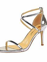 cheap -Women's Sandals Stiletto Heel Open Toe Faux Leather Casual / Minimalism Spring / Summer Black / Champagne / Gray