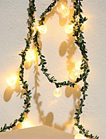 cheap -3M 20LEDs String Lights Green Leaf Rattan Light String Three Section 5th Battery-Powered Fairy Lights Garland Christmas Holiday Valentine Wedding Party Garden Decor Without Battery
