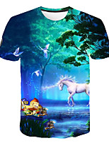 cheap -Kids Boys' Basic Street chic Horse Snowman Color Block 3D Rainbow Print Short Sleeve Tee Light Blue