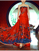 cheap -A-Line Strapless Court Train Polyester Chinese Style / Red Engagement / Formal Evening Dress with Beading / Sequin / Appliques 2020