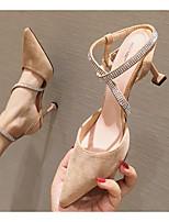 cheap -Women's Heels Stiletto Heel Pointed Toe PU Spring & Summer Black / Khaki