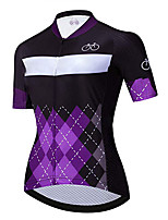 cheap -21Grams Women's Short Sleeve Cycling Jersey 100% Polyester Purple Plaid / Checkered Bike Jersey Top Mountain Bike MTB Road Bike Cycling UV Resistant Breathable Quick Dry Sports Clothing Apparel