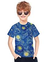 cheap -Kids Boys' Active Punk & Gothic Color Block 3D Plaid Short Sleeve Tee Blue