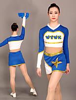 cheap -Cheerleader Costume Uniform Women's Girls' Kids Skirt Spandex High Elasticity Handmade Long Sleeve Competition Dance Rhythmic Gymnastics Gymnastics Blue
