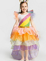 cheap -Kids Girls' Rainbow Dress Orange