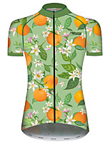 cheap -21Grams Women's Short Sleeve Cycling Jersey 100% Polyester Green / Yellow Floral Botanical Fruit Bike Jersey Top Mountain Bike MTB Road Bike Cycling UV Resistant Breathable Quick Dry Sports Clothing