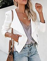 cheap -Women's Blazer, Solid Colored Notch Lapel Polyester White / Black