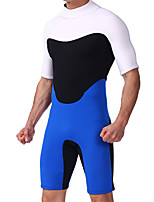 cheap -Men's Shorty Wetsuit 3mm SCR Neoprene Diving Suit Thermal / Warm Stretchy Half Sleeve Back Zip - Diving Water Sports Patchwork Autumn / Fall Spring Summer / High Elasticity