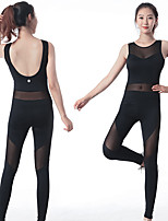 cheap -Women's Aerial Yoga Jumpsuit Winter Black Pink Elastane Ballet Dance Gymnastics Romper Sport Activewear Breathable Soft Stretchy