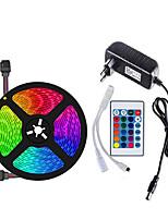 cheap -5m Flexible LED Light Strips / Light Sets / RGB Strip Lights 150 LEDs SMD5050 10mm 1 24Keys Remote Controller / 1 X 12V 3A Power Supply 1 set Multi Color Waterproof / Cuttable / Self-adhesive 12 V