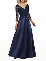 cheap -A-Line Elegant Blue Wedding Guest Formal Evening Dress V Neck 3/4 Length Sleeve Floor Length Satin with Beading Appliques 2020