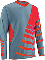 cheap -21Grams Men's Long Sleeve Cycling Jersey Downhill Jersey Dirt Bike Jersey 100% Polyester Red Orange Green Stripes Bike Jersey Top Mountain Bike MTB Road Bike Cycling UV Resistant Breathable Quick Dry