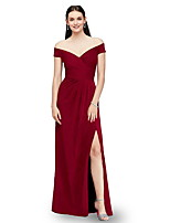 cheap -Women's Maxi Wine Navy Blue Dress Sheath Solid Color Off Shoulder S M
