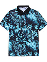 cheap -Men's Daily Weekend Rock / Exaggerated Polo - Floral / Geometric / 3D Tropical Leaf, Print Blue