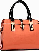 cheap -Women's Zipper PU Top Handle Bag Solid Color Black / Wine / Fuchsia