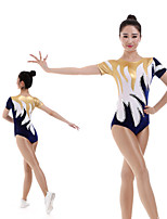 cheap -Rhythmic Gymnastics Leotards Artistic Gymnastics Leotards Women's Girls' Kids Leotard Spandex High Elasticity Handmade Short Sleeve Competition Dance Rhythmic Gymnastics Artistic Gymnastics Blue