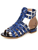 cheap -Women's Sandals Print Shoes Block Heel Open Toe Buckle PU Casual / Preppy Spring & Summer Blue / White / Brown
