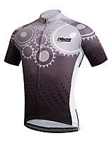 cheap -21Grams Men's Short Sleeve Cycling Jersey 100% Polyester Dark Grey Bike Jersey Top Mountain Bike MTB Road Bike Cycling UV Resistant Breathable Quick Dry Sports Clothing Apparel / Stretchy