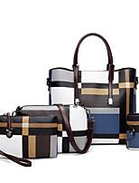 cheap -Women's Zipper PU Bag Set Color Block 4 Pieces Purse Set Black / Blue / Red