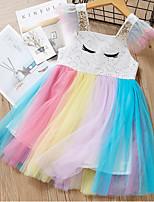 Недорогие -Дети Девочки Контрастных цветов Платье Цвет радуги