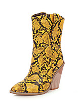 cheap -Women's Boots Chunky Heel Pointed Toe PU Mid-Calf Boots Vintage / British Fall & Winter Black / White / Yellow / Party & Evening