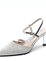 cheap -Women's Sandals Stiletto Heel Pointed Toe PU Summer Champagne / Silver