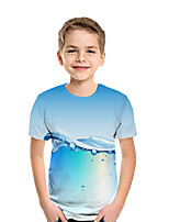 cheap -Kids Boys' Active Street chic Geometric 3D Patchwork Print Short Sleeve Tee Light Blue