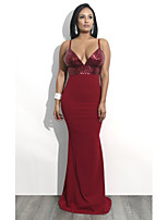 cheap -Mermaid / Trumpet V Neck / Spaghetti Strap Floor Length Polyester / Sequined Sexy / Red Formal Evening / Party Wear Dress with Sequin 2020