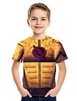 cheap -Kids Boys' Basic Street chic Geometric Color Block 3D Print Short Sleeve Tee Orange