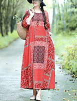 cheap -Women's Loose Dress - Print Red Green Brown M L XL XXL