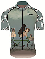 cheap -21Grams Men's Short Sleeve Cycling Jersey 100% Polyester Forest Green Animal Bike Jersey Top Mountain Bike MTB Road Bike Cycling UV Resistant Breathable Quick Dry Sports Clothing Apparel / Stretchy