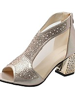 cheap -Women's Sandals Chunky Heel Round Toe PU Spring &  Fall / Summer Gold / Silver