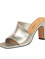 cheap -Women's Sandals Chunky Heel Open Toe Faux Leather Casual / Minimalism Spring / Summer Black / Almond / Nude