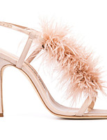 cheap -Women's Sandals Furry Feather Stiletto Heel Round Toe Feather PU Spring & Summer Pink