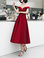 cheap -A-Line Off Shoulder Tea Length Satin Sexy / Red Party Wear / Cocktail Party Dress with Buttons 2020