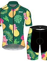 cheap -21Grams Men's Short Sleeve Cycling Jersey with Shorts Black / Green Fruit Bike UV Resistant Quick Dry Sports Patterned Mountain Bike MTB Road Bike Cycling Clothing Apparel / Stretchy