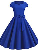 cheap -Women's Blue Dress Active Cute Party Daily Swing Solid Color Square Neck Patchwork S M / Cotton