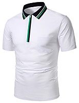 cheap -Men's Daily Work Basic Polo - Striped / Solid Colored Blue & White, Patchwork Blue