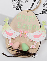 cheap -Happy Easter bunny egg Holiday Decorations wood hanging objects