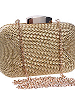 cheap -Women's Chain Polyester / Straw Evening Bag Solid Color Black / Gold / Silver